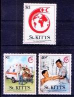 Red Cross, Ambulance, Medicine, Nurse, Strecher, St Kitts MNH 3v