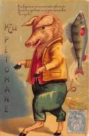 Mademoiselle PETOMANE - COCHON - TRUIE - Illustration Glacée -  1905  - 2 Scans - Chiens