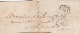 Lettre Cachet ORLEANS Loiret 6/6/1855 Taxe Double Trait 25 Pour Malesherbes - 1849-1876: Période Classique