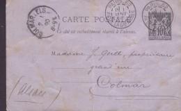 France Postal Stationery Ganzsache Entier Sage PARIS-62 Av. De La Garde Armee 1890 COLMAR I. Els Alsace Germany (2 Scans - Entiers Postaux