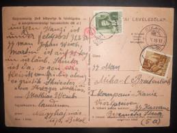 Hongrie , Carte De Bikal 1940 Pour Allemagne