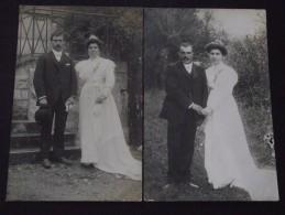 JEUNES MARIES - Lot De 2 Cartes-photos - Vers 1910 - Mariage, Noces - Non Voyagées - A Voir ! - Noces