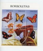 Angola 1998-Papillons-1157/62+B43***MNH