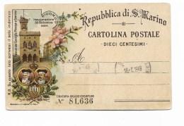 REPUBBLICA DI S.MARINO CART. POSTALE DA 10 CENTESIMI - San Marino