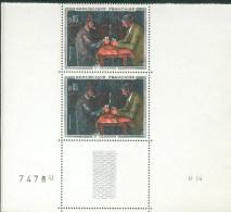 France Variété 1961 - 1 Exemplaire Clair Tenant à Normal - Les Joueurs De Cartes  - Y&T N° 1321 ** Neufs Luxe