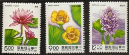 China Taiwan 1993 Water Plants Water Lily Nuphar Nyphaea Eichhornia 3 Values MNH