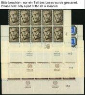 UNO NEW YORK Aus 6-28 **, 1951-54, Kleine Partie Verschiedener Bogenteile Mit RZf+KN Sowie Nur Mit Emblem, Pracht, Mi. (