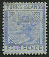 TURKS- UND CAICOS-INSELN 19 *, 1881, 4 P. Hellblau, Falzreste, Pracht, Mi. 120.-