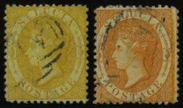 ST. LUCIA 8A,10A O, 1864, 4 P. Gelb Und 1 Sh. Orange, Gezähnt 121/2, 2 Werte üblich Gezähnt Pracht