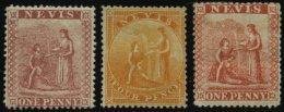NEVIS 5,6,8 *, 1866/76, 1 P., 4 P. Und 1. P. Heilquelle, Falzreste, 3 Werte Feinst/Pracht