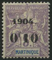 MARTINIQUE 55 *, 1904, 0f10 Auf 5 Fr. Lila/blau, Falzreste, Pracht, Mi. 200.-