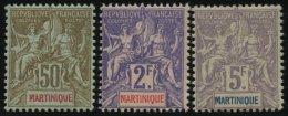 MARTINIQUE 44-46 *, 1889-1904, 5 C. - 5 Fr. Kolonialallegorie, Falzrest, 3 Prachtwerte, Mi. 265.-