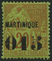 MARTINIQUE 13 *, 1891, 015 Auf 20 C. Rot Auf Grün, Falzrest, Pracht, Mi. 70.-