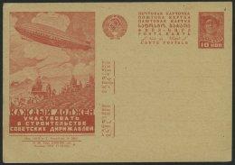 GANZSACHEN P 127I BRIEF, 1931, 10 K. Zeppelin-Ganzsachenkarte, Bild 56, Ungebraucht, Pracht