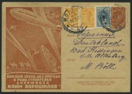 GANZSACHEN P 91.II BRIEF, 1930, 5 K. Zeppelin-Ganzsachenkarte, Bild 56 (5/XII-1930), Mit Zusatzfrankatur Nach Deutschlan