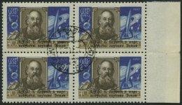 SOWJETUNION 2026 VB O, 1957, 40 K. Sputnik I Im Randviererblock, Pracht, Mi. 140.-