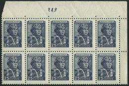 SOWJETUNION 1333I **, 1949, 25 K. Blau, Offsetdruck, Im Zehnerblock Aus Der Rechten Oberen Bogenecke Mit Bogenzähl-