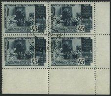 SOWJETUNION 823A VB O, 1941, 45 K. Dunkelblaugrün, Gezähnt L 121/2, Im Unteren Rechten Eckrandviererblock, Pra