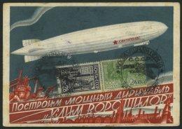 SOWJETUNION 382,385 BRIEF, 1931, 28 K. Schwarzviolett Und 2 K. Gelbgrün Auf Ansichtskarte Luftschiff Klein Woroschi