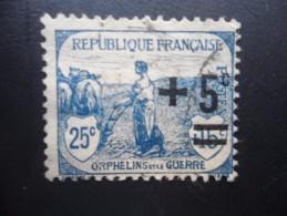 Année 1922 N° 165 Oblitéré Orphelins 5c Sur 25+15c