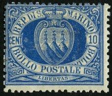 SAN MARINO 2b *, 1877, 10 C. Blau, Falzreste, üblich Gezähnt, Feinst, Mi. 600.-