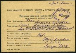RUSSLAND 1949, Briefkarten-Vordruck Vom Sowjetischen Roten Kreuz Aus Dem Lager Nr. 7818 Nach Deutschland In Die Britisch