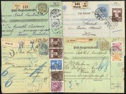 GANZSACHEN 1899-1915, 6 Verschiedene Paketkarten, Alle Mit Zusatzfrankaturen, Feinst/Pracht