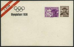 GANZSACHEN 1936, Privat-Ganzsachenkarte Olympiafahrt 1936 - LZ 129 Mit 15 Und 12 G, Ungebraucht, Pracht