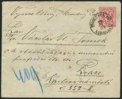 GANZSACHEN U 62a,46 BRIEF, 1889, 5 Kr. Rosa, Umschlag Mit Rückseitigem Reco-Porto 2x 5 Kr. Doppeladler Von HRADEK N