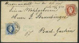 GANZSACHEN U 60I,38I BRIEF, 1875, 5 Kr. Rot, Wz. 3, Reco-Umschlag Mit Zusatzfrankatur 10 Kr. Blau, Grober Druck, Von MAX
