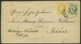 GANZSACHEN U 59I,35II BRIEF, 1882, 3 Kr. Grün, Wz. 3, Umschlag Mit Zusatzfrankatur 2 Kr. Gelb, Feiner Druck, Von PR