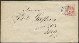 GANZSACHEN U 55 BRIEF, 1872, 5 Kr. Rot Mit Blauem Fingerhutstempel BISTRITZ BOEHMEN, Pracht