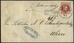 GANZSACHEN U 55,38I BRIEF, 1867, 5 Kr. Rot, Wz. 3 Umschlag Mit Rückseitigem Reco-Porto 10 Kr. Blau, Mit Ungarischem