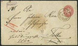 GANZSACHEN U 42,33 BRIEF, 1866, 5 Kr. Rot, Wz. 2, Umschlag Mit Rückseitigem Reco-Porto 10 Kr. Blau Von WIEN-HABSBUR