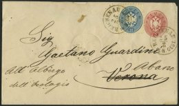 GANZSACHEN U 33,33 BRIEF, 1865, 5 Kr. Rot, Wz. 1, Umschlag Mit Zusatzfrankatur 10 Kr. Blau Von REICHENAU Nach Abano, Fei