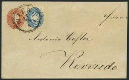 GANZSACHEN U 2A,27 BRIEF, 1861, 5 Kr. Rot, Format A, Umschlag Mit Zusatz-Mischfrankatur 10 Kr. Hellblau Von WIEN (K2) Na