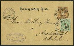 GANZSACHEN P 43,45 BRIEF, 1889, 2 Kr. Braun, Karte (deutsch) Mit Zusatzfrankatur 3 Kr. Doppeladler Von WIEN III Nach Ams