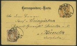 GANZSACHEN P 43,44 BRIEF, 1888, 2 Kr. Braun, Karte (deutsch) Mit Zusatzfrankatur 2 Kr. Doppeladler Von GRAZ STADT Nach M