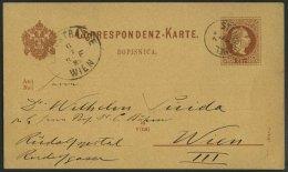 GANZSACHEN P 30 BRIEF, 1882, 2 Kr. Rotbraun, Karte (Slov.) Mit Fingerhut-K1 STEINBÜCHEL Nach Wien, Pracht