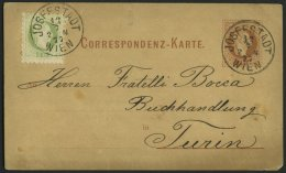 GANZSACHEN P 25,36II BRIEF, 1877, 2 Kr. Rotbraun, Karte (deutsch) Mit Zusatzfrankatur 3 Kr. Grün, Feiner Druck, Von
