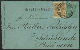 GANZSACHEN K 1a,44 BRIEF, 1887, 3 Kr. Grün, Kartenbrief (deutsch), Grün, Mit Zusatzfrankatur 2 Kr. Doppeladler
