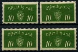 DIENSTMARKEN D 12I *, 1933, 10 Ø Grün, Type I, Falzreste, 4 Prachtwerte, Mi. Für ** (400.-)