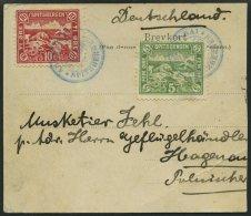 NORWEGEN Ca. 1920, 5 Und 10 Öre Spitzbergen - Vignetten Auf Ansichtskartenteil, Pracht