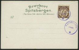 NORWEGEN 1899, 10 Öre Spidsbergen - Vignette, Leer Gestempelt Auf Ansichtskarte Aus Spitzbergen, Pracht