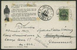 NORWEGEN 78 BRIEF, 1924, Fram - Karte, Rechts Gezähnt, Von POLHAVET Nach Dänemark, Feinst