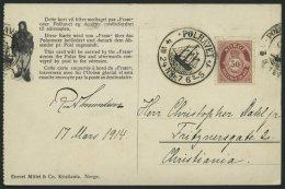 NORWEGEN 87 BRIEF, 1924, Fram - Karte, Rechts Gezähnt, Von POLHAVET Nach Christiania, Pracht