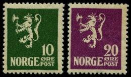 NORWEGEN 105/6 **, 1922/3, 10 Und 20 Ø Wappenlöwe, 2 Prachtwerte, Mi. 140.-