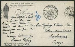 NORWEGEN P4 BRIEF, 1924, Fram - Karte, Links Gezähnt, Mit 2 X Michel Nr. P4 Nachporto Belegt, Einsprachiger Text, V