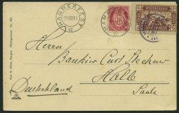 NORWEGEN 79 BRIEF, 1913, 5 Öre Spitzbergen-Vignette Als Zusatzfrankatur Auf Ansichtskarte Von Hammerfest Nach Halle