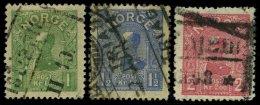 NORWEGEN 67-69 O, 1907, König Haakon VII, Satz Feinst, Mi. 220.-